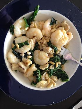 garlic prawns, spinach, pine nuts