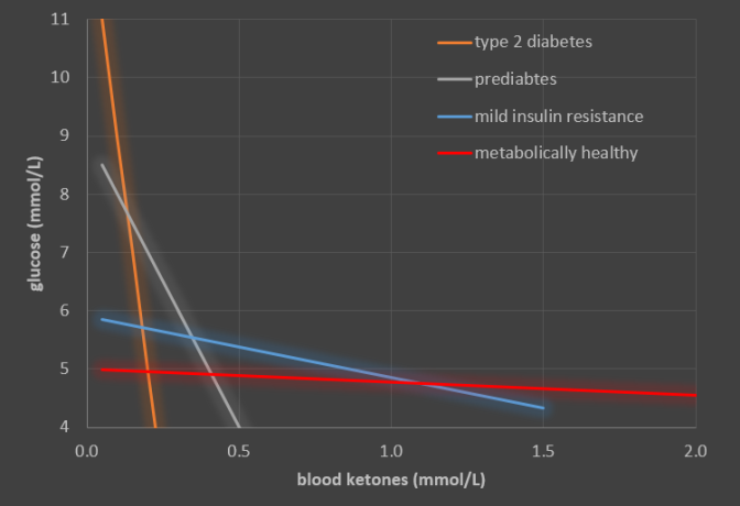 blood ketones and glucose levels in ketosis