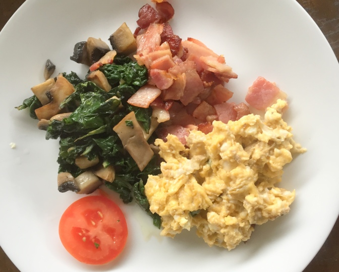 bacon, eggs, spinach and mushroom
