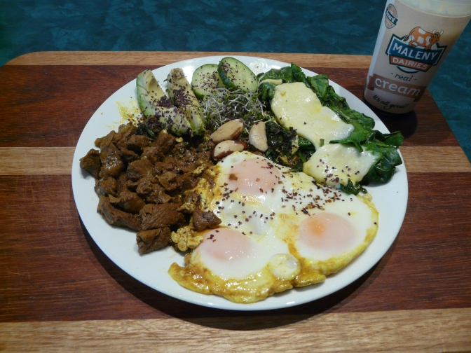steak, eggs, spinach, brazil nuts and hallouimi